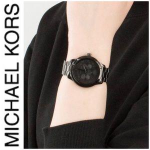 NWT authentic MK Runway Chrono Black Dial Watch